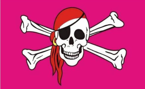 Pink Pirate Piratenfahne Rosa Rose