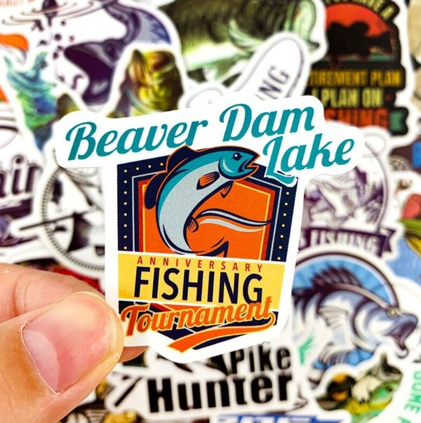 50 tlg Stickerset Fischen Fishing Boot